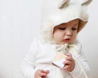 Arctic FOX Cream Wool Bonnet, Baby Bonnet, Christmas Bonnet,Childs Bonnet, Cute Bonnet, Little Bonnet, Bonnet Photo Prop, Handmade Bonnet
