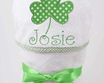 Shamrock Baby Bath Towel, St Patrick's Day Baby, Irish Baby Gift, Shamrock Baby Gift, Unisex Baby Gift, Gender Neutral Baby,