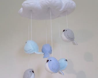 Baby mobile in blue and grey - cloud and bird nursery decoration