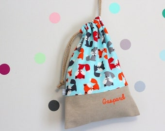 Customizable drawstring pouch - cuddly toy bag - name - kids - foxes - blue - orange - gray - red - kindergarden - slippers or toys bag