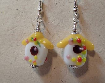 Glass Bead Birdhouse Bird House Earrings with a Opaque Yellow Roof
