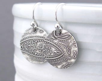 Silver Drop Earrings Dangle Silver Earrings Paisley Earrings Silver Circle Earrings Bohemian Jewelry Holiday Gift for Her
