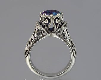RESERVED for C. 2nd payment - The ENCHANTED PRINCESS 14k white gold Alexandrite engagement ring with diamonds