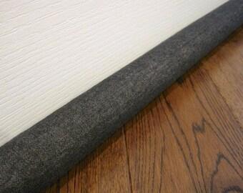 DOOR draft stopper cover, DENIM draft snake, draft dodger. Dark denim fabric.
