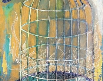 Freedom To Dream  - Original mixed media painting by Maria Pace-Wynters