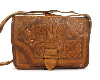 60s Hand Tooled Leather Bag Vintage 1960s Mexican Handmade Hippie Boho Bohemian Purse with Tooled Flowers Adjustable Shoulder Strap Pockets