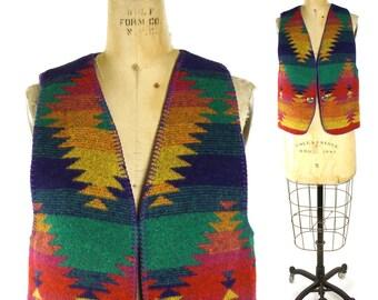 90s Indian Blanket Vest / Vintage 1990s Western Native American Pendleton Inspired Southwest Boho Hippie Ranch Rocker Vest / Medium