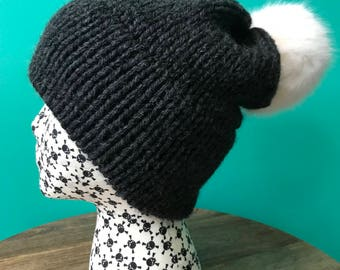 Charcoal Gray Double Brim Slouch Knit Hat with Faux Fur Pom Pom (choose your pom pom color)