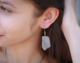 Labradorite Slab Mixed Metal Earrings