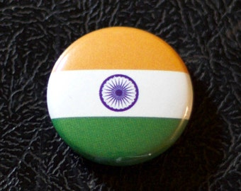 "1"" India flag button, country, pin, badge, pinback, Made in USA"