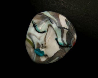 Swirled Lady Face Cabochon Handmade Polymer Clay Cab beading supply, art doll part, collage