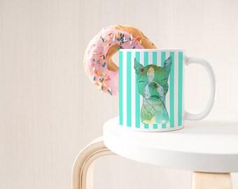 Boston Terrier, Large Mug, Statement Mug, Tired As A Mother, College Student Gift, Inspirational Mug, Boss Mug, But First Coffee, Mom Life