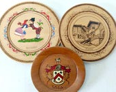 Wood Souvenir Plates / Hand Painted Old Plates / Welch Plate / Bulgaria Plate / Plovdiv Plate / Wood Plate Collection / Vintage Home Decor