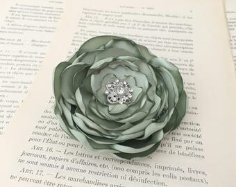 Sage Green Flower Hair Clip.Sage Green Flower Brooch Pin.Flower Girl.Bridesmaid.Sage Headpiece.Satin.Wedding.Corsage.bridal.hair accessory