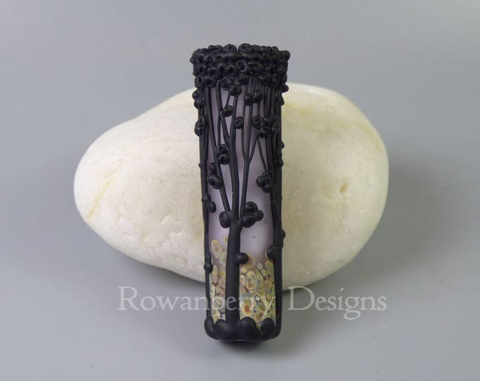 Featured listing image: Tree Silhouettes - Handmade Lampwork Glass Tube Focal Bead - Rowanberry SRA TR4 - glass art