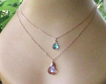 Rose Gold Crystal Pendant Necklaces - Wire Wrapped Briolettes - Swarovski Purple Haze or Vitrial Light - Adjustable