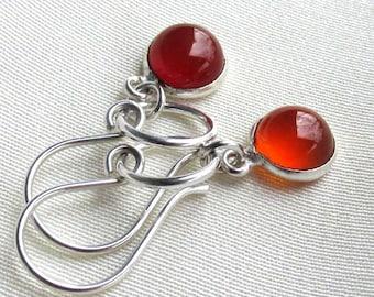 Orange Carnelian Circle Earrings, Sterling Silver Handmade Earwires & Solid Rings, Petite Gemstone Cabochon Drops