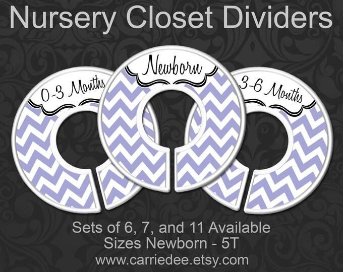 Purple Chevron Baby Closet Dividers, Nursery Closet Dividers, Baby Clothes Organizers, Baby Shower Gift, Baby Girl Gift