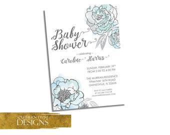 Floral Baby Shower Invitation - Floral Baby Shower Invitation Blue - Teal Gray Flower Baby Shower Invite - Boy Baby Shower Spring Invitation
