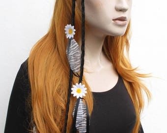 Daisy Flower Feather Dread Hair Clip Fall Black Hair Extensions Gothic Indie Goth Psytrance
