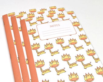 Giraffe Notebooks - Buy 2 Get 1 Free - Set of 3 - School Notebooks - Journal - Party Favor Note Book - Notebook - Giraffe Notebooks for Kids