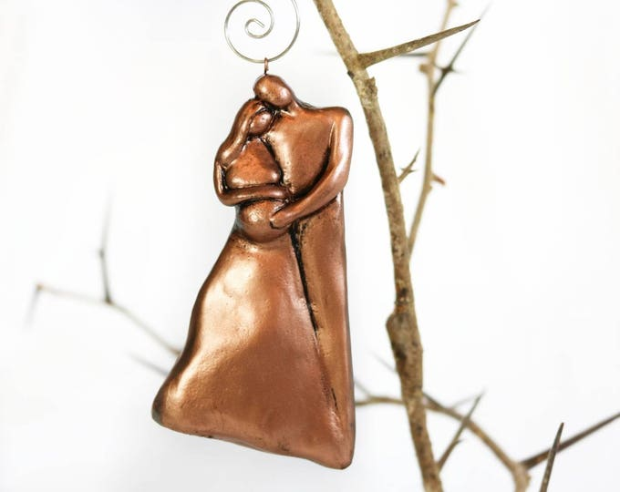 Expecting Pregnant Couple Christmas Ornaments 2017 Copper Finish 7th Anniversary Gift for Her and Him, Pregnancy Ornament, Mom to be,