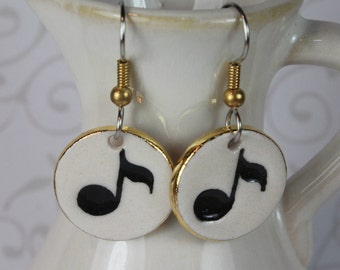 Music Notes Porcelain Ceramic Dangle Earrings