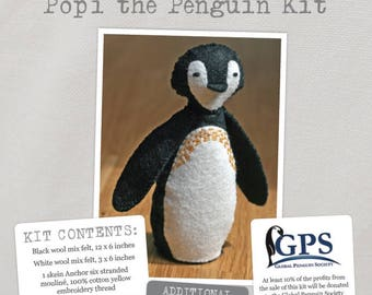 Popi the Penguin Kit - Create this beautifully detailed felt penguin with this adorable kit