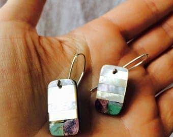 Santo Domingo Pueblo Stone Mosaic Earrings. Turquoise & Mother of Pearl. Native American