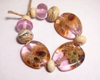 Mermaid Glass Lampwork Beads - Eclectic Handmade Organic Tabs bracelet set