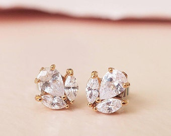 AAA Cubic Zirconia Bridal Stud Earrings Gold Wedding stud Earrings Crystal Bridal Earrings CZ Leaf Bridal Earring Petite Small Tiny Zircon