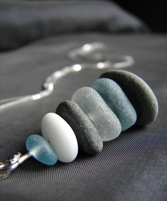 Sea Stack beach pebble and sea glass necklace in aqua and white