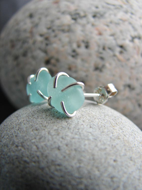 Tiny Ocean sea glass stud earrings in aqua