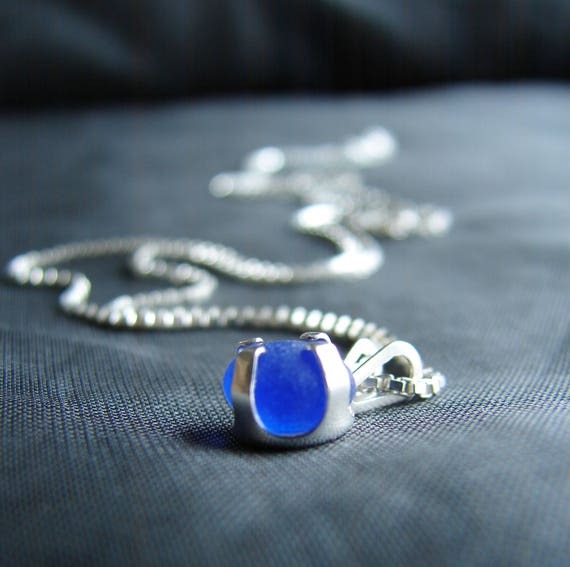 Sea Sprite beach glass necklace in cornflower blue