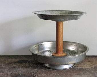 Upcycled Tiered Vintage Pan Serving Display Stand