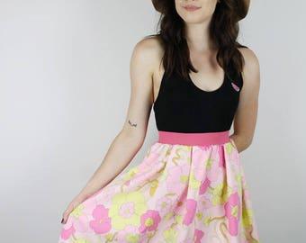 Vintage Pink Skirt,  Diy 60s Skirt, Handmade Pink Flower Skirt, Womens skirt, Diy Retro stripe Skirt, ooak skirt
