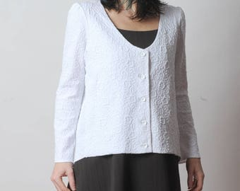 White jersey jacket, Womens jacket in white floral textured jersey, pleated back, Womens jackets, Womens clothing, MALAM, White jacket
