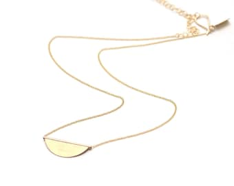 Delicate Gold Necklace, Tiny Circle Pendant, Dainty Gold Necklace, Capsule Wardrobe, Hypoallergenic Gold Necklace - Fragment Necklace