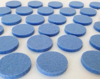 "Sky blue wool felt discs, 2"" diameter x 1/8"" thick, 31 pieces"