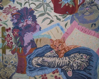 CAT upholstery fabric tapestry style cats and kittens upholstery fabric