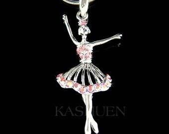 Pink Swarovski Crystal BALLERINA Star Graceful Ballet Dance dancing Pendant Necklace Christmas Best Friend Gift New 4 The Nutcracker Lover