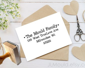 JLMould Personalized Return Address Stamp, Self Inking Address Stamp, DIYer Gift, Wedding Gift. Housewarming Gift, Custom Address Stamp 1066