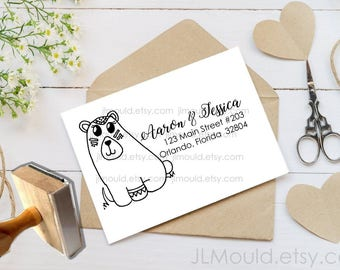 Custom Rubber Stamp Return Address  Costume Bear Old West Monogram Modern Family Last name Personalized rubber stamp JLMould 1076