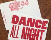 DANCE ALL NIGHT 6 hand printed letterpress mini prints post cards