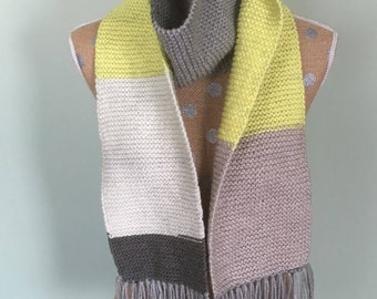 Extra long striped fringed scarf- hand knitted