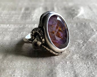 Sacred Seven Crystal (or Super 7 Melody Stone)  and Amethyst in Sterling- Star Snake Talisman Ring