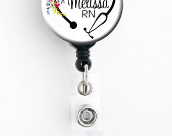 Retractable ID Badge Holder - Personalized Name - Floral Steth Heart - Badge Reel, Steth Tag, Lanyard, Carabiner / Nurse Badge / RT Badge