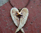 Rustic Winged Golden Star Porcelain Pendant, Remembrance