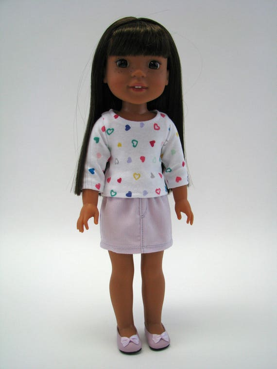 """14 Inch Doll Clothes - Fits Like Wellie Wisher - 14"""" Doll Top - 14.5"""" Doll Top - Heart Print -  American Doll Clothes - A Doll Boutique"""