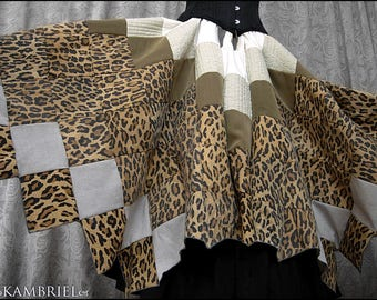 Matahari Patchwork Skirt by Kambriel - One of a Kind w/ Vintage Leopard + Quilted Details - Handkerchief Hem - Brand New & Ready to Ship!